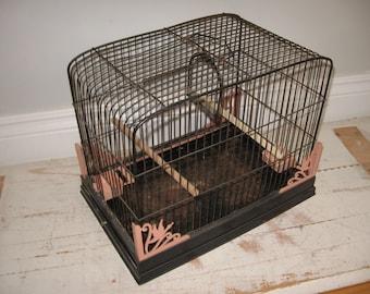vintage birdcage, black and pink birdcage