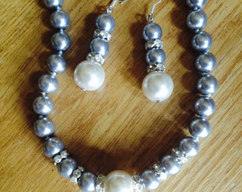 1-SPECIAL SALE: Grey Pearl Necklace + Matching Grey Pearl Earrings-White Pearl Pendant Necklace-Grey Pearl Necklace-Grey Pearl Earring
