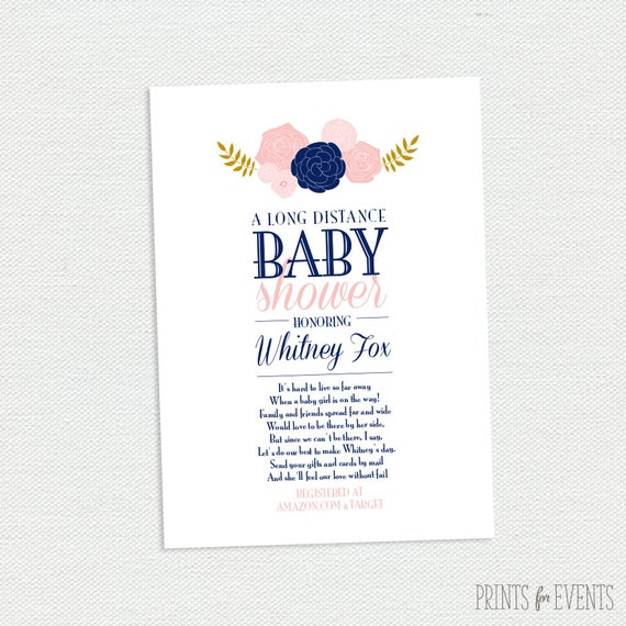 long distance baby shower invitation vintage floral printable