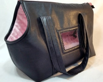 Black Leather Dog Carrier, Dog Tote, Small Dog Purse, Handmade Dog Carrier