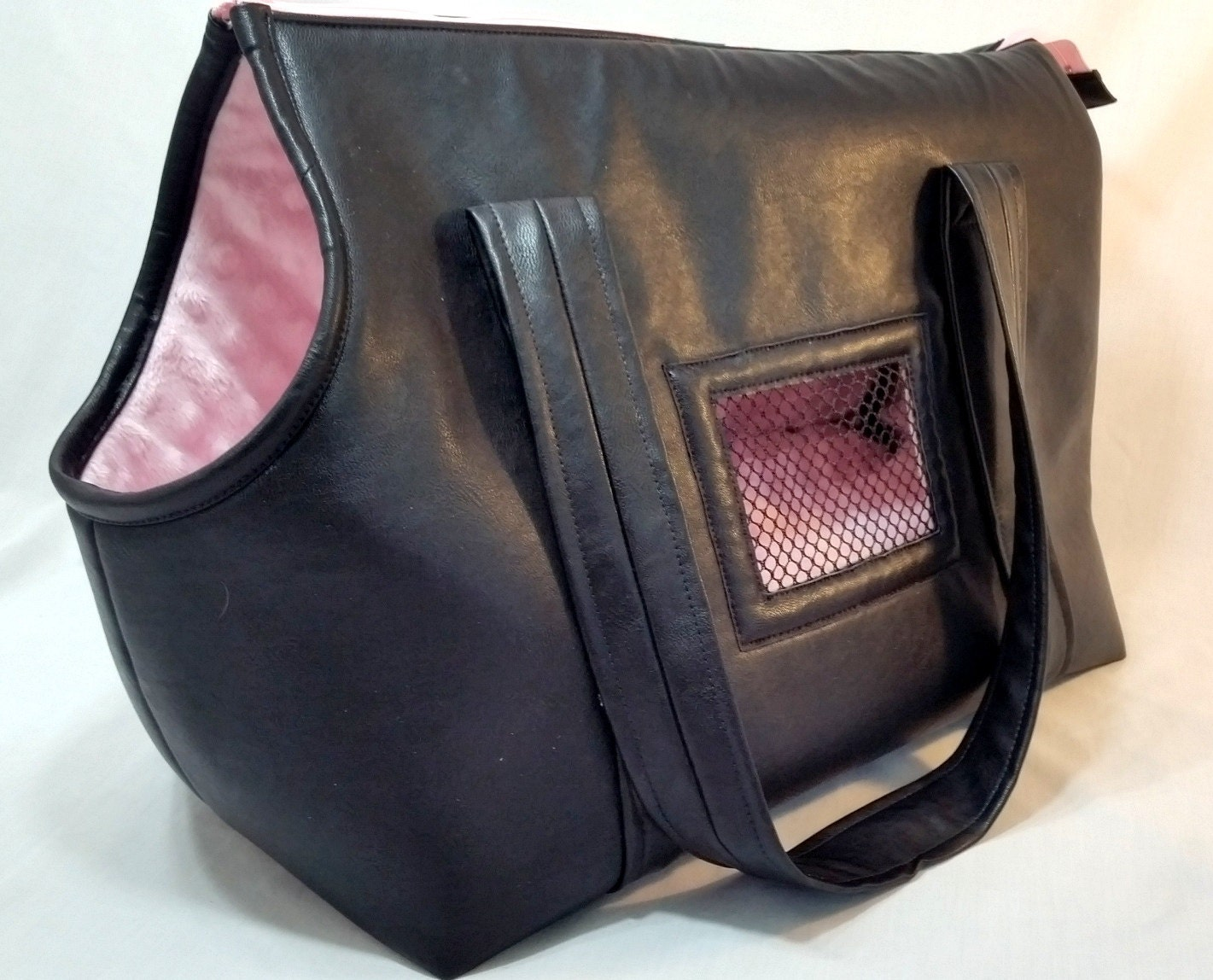 Black Leather Dog Carrier Dog Tote Small Dog Purse Handmade