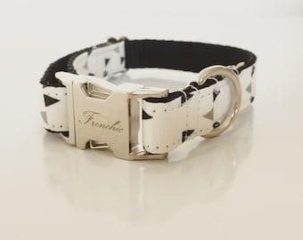 "Adjustable dog collar ""Confetti noir"""