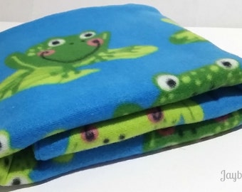 Soft and Cozy Blanket for Baby - Blanket with Cute Frogs Pattern - Blanket for Infant - Froggie Children Blanket