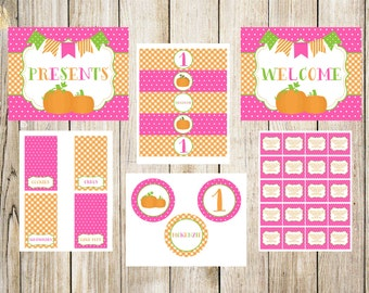 Pink Pumpkin Birthday Party Printable Package
