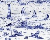 Nautical Fabric, Seashore Toile Fabric - Nautical Seaside Scenic by Timeless Treasures C2363 - White Blue - 1/2 yard