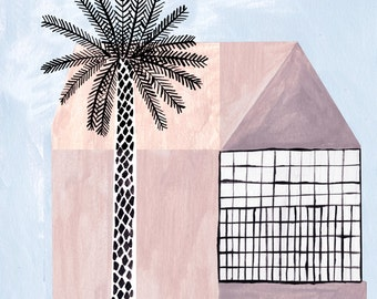 Pink House & Palm tree by Ana Frois . digital print