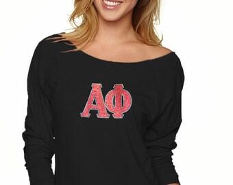 Alpha Phi Greek Letter Glitter & Bling 3/4 Long Sleeve Slouchy Pullover Shirt