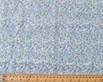 Vintage Cotton Fabric Fat Quarter Blue Pink and Purple Flowers