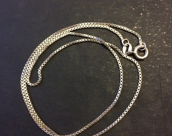 """16"""", 1mm, Vintage Italian sterling silver box chain, made in Italy silver necklace"""