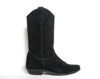 Black Suede Cowboy Boots // Black Suede Cowgirl Boots // Black Suede Boots // Western Boots // Womens Cowboy Boots