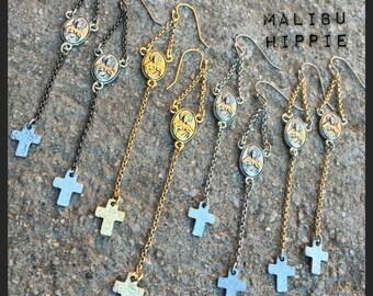 Hallelujah Rosary Rocker Earrings