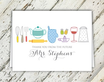 Thank You From The Future Mrs. Kitchen Themed Bridal Shower Thank You Notes   5.5 x 4   Digital Download   Printable   Custom Thank You Note