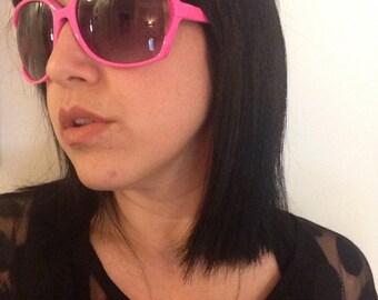 Crazy cool glam rock hot pink sunglasses