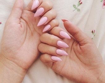 Pastel Pink Stiletto Square False Press On Nails