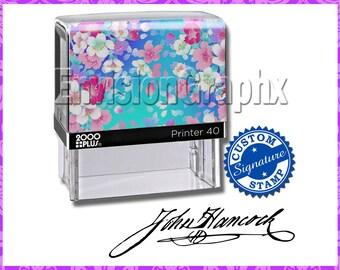 Custom Personalized Signature Self Inking Rubber Stamp Sakura Flowers Theme