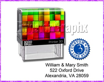 Custom Personalized 3 Line Address / Message Self Inking Rubber Stamp Rainbow Cube Theme