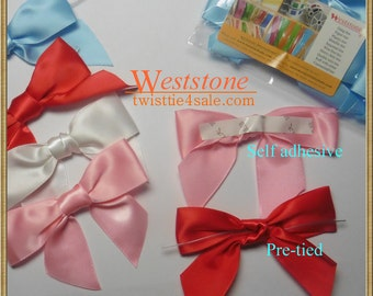 "20pcs 3 1/2"" Satin Self Adhesive or Pre-Tied Ribbon Bow for Cello Bags in Wedding and Party"
