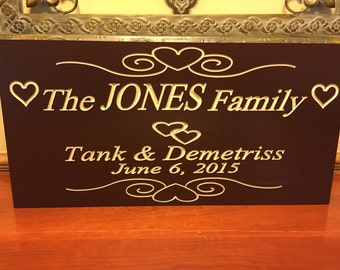 Family Name Sign, Marriage Sign Custom Wedding Gift Custom Wood Sign Carved Sign, 9 x18