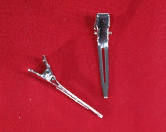 "BULK! 20pc prong alligator ""silver barrettes"" hair clips (JC87)"