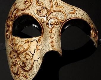 Venetian Gold Lining Half Men Masquerade Ball Mask  'Phantom of the Opera' Design