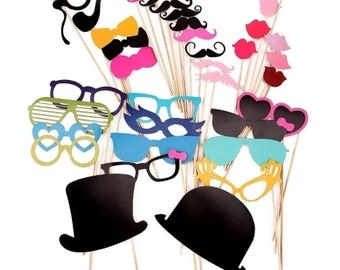 36 pcs Colorful Props On A Stick Mustache Photo Booth Party Fun Wedding Christmas Birthday [1540]