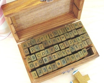 Alphabet, Numbers , Symbols Wooden Rubber Stamp - 70 pcs set in Vintage Box [1439]