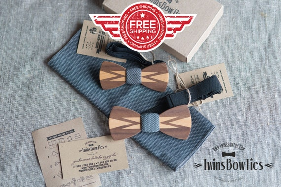 FREE SHIPPING!!! Wooden bow tie Classic Set   + pocket square. Man wood bow tie. Men Accessories. 100% hand made. Best personal gift.