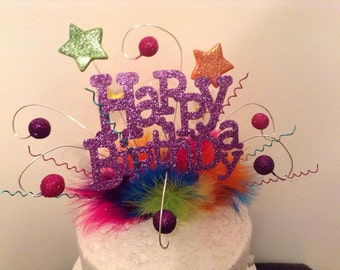 Rainbow star happy birthday cake topper \ centre piece