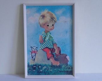 Emma Louise Dallas Simpson Big Eyed Children Art - Going my Way (Vintage Reworked)