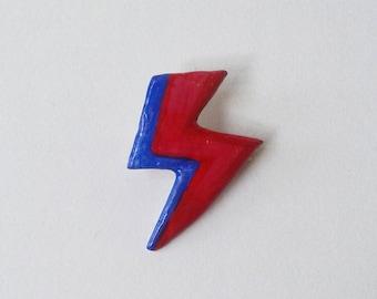 handmade and painted David Bowie Aladdin Sane lightning bolt badge!