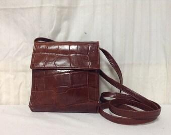 Tusk Leather purse,bag,brown leather,Shoulder Bag ,Wallet ,Organizer bag,Croc Embossed