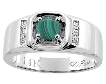 "14K White Gold Natural Malachite Men's Ring, Diamond Accented, 5/16"" wide, Sizes 9 - 14"