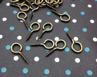 200pcs of 6.5x13mm ancient bronze screw nails with 6.5mm eye pins,mini eye screws