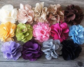 """Set of 2 YOU PICK COLORS Burlap Flowers - Burlap Flower - 3"""" - Burlap Fabric Flower - Burlap Rose - Layered flowers - Wholesale Supplies"""