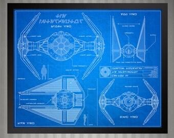 Star Wars Blueprint Style - Tie Interceptor: 8 x 10 print
