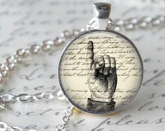 Hand Writing Necklace Pendant Teacher Necklace Vintage Hand Art Image Antique writing Handmade Glass Pendant