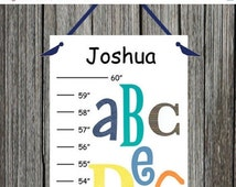 ON SALE Personalized Fun Alphabet Canvas Growth Chart