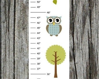 ON SALE Personalized Blue Green Owl Canvas Growth Chart