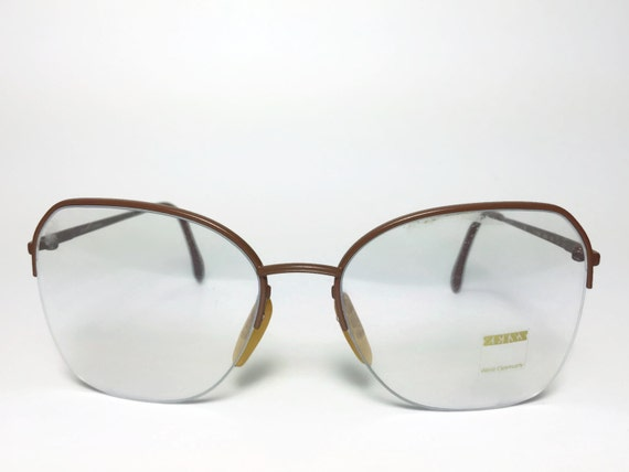 Vintage Eyeglass Frame Zeiss Chocolate Brown Round