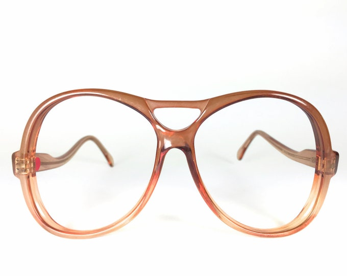 70s Vintage Aviator Glasses | Orange Oversized Round Aviator Eyeglasses | NOS 1970s Eyeglass Frame | Vintage Deadstock Eyewear - Maritza