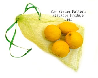 drawstring, reinforced bottom, and elastic - 3 sizes Reusable Produce Bags - Waste Free PDF Sewing Pattern in 3 styles