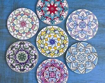 Painted fridge magnets - Mandala magnets - Christmas gift - Mandala art