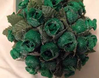 Sparkly green Flower Christmas Ornament 3 1/2 inches wide