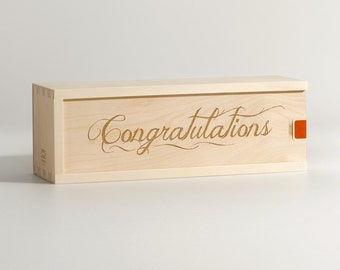 Congratulations Wine Box // Congrats // Graduation // Retirement Gift Idea // Wedding // Engraved Gift // Wine Lover