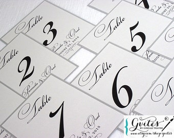 Silver wedding table numbers, printed table numbers, gray table numbers, custom numbers 5x7. More Colors Available!