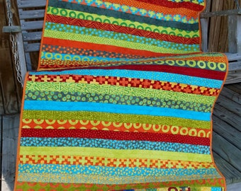 Simple Marks Summer Jelly Roll Rag Strip Quilt