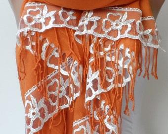 French Lace Pashmina in Tangerine pashmina Bridesmaid shawls gifts Pashmina Women Accessories Wedding Bridal Shawls Tangerine Scarfs Trend