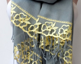 Gold French Lace Pashmina shawls in Ash Gray Lace Shawl Bridesmaid pashmina shawls elegancescarf Summer scarf Wedding shawl Gifts