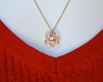 14K Gold Filled CZ Pendant Necklace Vintage