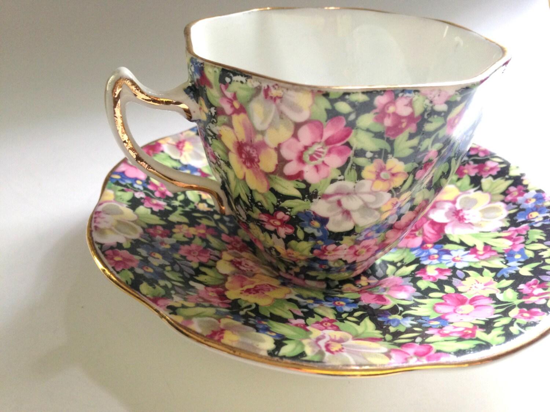 black chintz rosina tea cup and saucer pattern by aprilsluxuries. Black Bedroom Furniture Sets. Home Design Ideas
